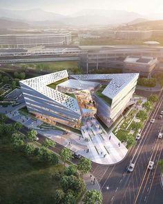 "- ""Complex Center by Junho Hong Architecture Concept Diagram, Public Architecture, Architecture Building Design, Cultural Architecture, Futuristic Architecture, Contemporary Architecture, Amazing Architecture, Hospital Design, Facade"