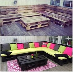 DIY pallet lounge and 50 pallet furniture projects. #diy #pallet #furniture