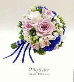 """Свадебные цветы ручной работы. Ярмарка Мастеров - ручная работа. Купить Букет невесты """"Белые розы и синие гортензии"""".… Bride Bouquets, Floral Wreath, Wreaths, Weddings, Decor, Stock Wedding Bouquet, Flowers, Wedding, Colors"""