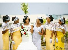 Absolutely love their uniqueness. Elegant Wedding Dress, Wedding Wear, Wedding Party Dresses, Wedding Attire, Dream Wedding, Yellow Bridesmaid Dresses, African Traditional Wedding, The Wedding Singer, African American Weddings