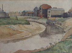 Warehouses by The River Ouse as it passes through Lewes Harvey's Brewery on the left Landscape Sketch, Landscape Art, Landscape Paintings, Perspective Art, Artist At Work, Painting & Drawing, Printmaking, Amazing Art, British Artists