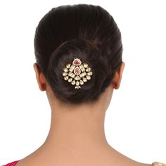 Kundan Hair brooch ACHPIN8 #Kushals #Jewellery #Fashion #Indian #Jewellery #HairBroochs #WeddingAccessories #Kundan #Festive