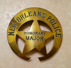 1970s 1980s NOPD New Orleans honorary major badge. A political badge given to those who help NOPD not a actual rank