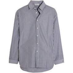 Balenciaga Oversized striped poplin shirt ($645) ❤ liked on Polyvore featuring tops, shirts, shirt tops, checkered top, polka dot top, oversized shirts and oversized striped shirt