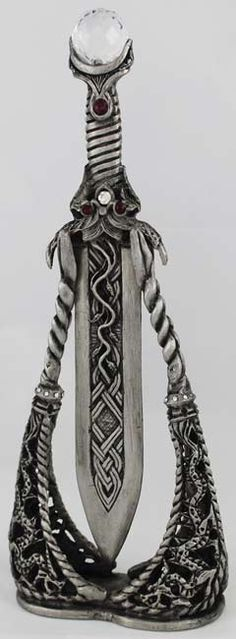 Stunning athame with vertical stand & crystal embellishments