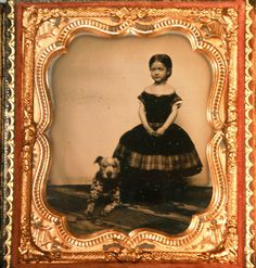 AMBROTYPE OF A CHARMING GIRL WITH HER DOG IN AN UNUSUAL CASE | eBay
