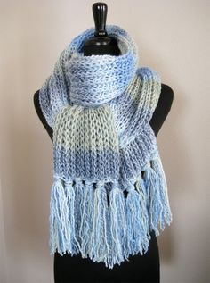 Blue Monet Handknitted Long Scarf with Tassels by Knitsome Studio
