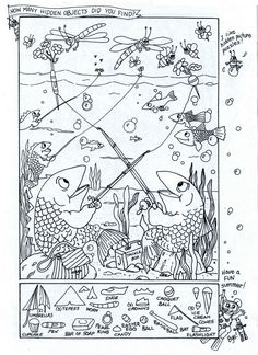 Summer Fun - Hidden Picture Puzzle/Coloring Page