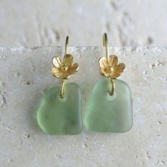 Mint Green Sea Glass Earrings - Gold Vermeil Flowers by sweptfromthesea