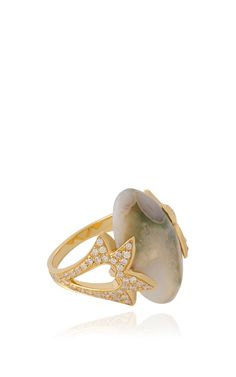 Fly Me To The Moon Amore Almond Cabochon Ring by Noor Fares (Agate, white diamonds and 18k yellow gold)