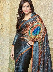Neha Sharma Grey Peacock Feather Print Saree