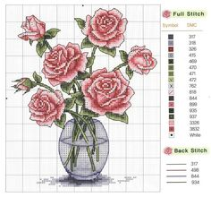 vase of roses cross stitch
