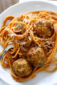 ... Sun-Dried Tomato Pesto with Whole-Wheat Spaghetti & Turkey Meatballs