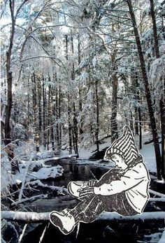 Snowy Hike, Photo Collage, 6x4 in. 2014, For Sale on Saatchi: https://www.saatchiart.com/art/Collage-Snowy-Hike/678261/3816690/view