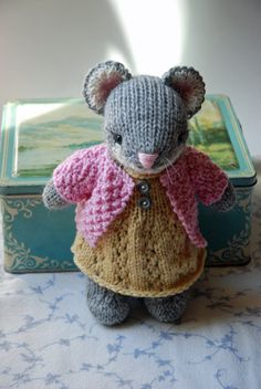 Knitted Mouse Toy in Yellow Dress and Pink by AuntieShrews