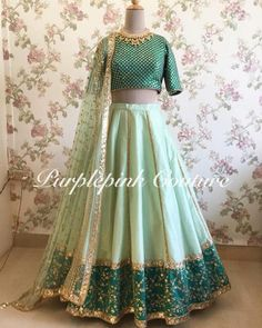 Mint Green Raw Silk Lehenga with Teal Green Choli. Party Wear Indian Dresses, Designer Party Wear Dresses, Indian Gowns Dresses, Indian Bridal Outfits, Indian Fashion Dresses, Dress Indian Style, Indian Designer Outfits, Designer Gowns, Designer Wear