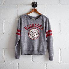 Tailgate Nebraska Crewneck Sweatshirt ($60) ❤ liked on Polyvore featuring tops, hoodies, sweatshirts, grey, distressed sweatshirt, grey crewneck sweatshirt, raglan sleeve sweatshirt, gray crewneck sweatshirt and grey crew neck sweatshirt