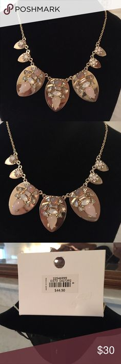 "NWT Big beautiful Ann Taylor necklace with gems This is a brand new necklace and is so pretty gems that look like Opals, Rose Crystal, Smoky Topaz  and CZ's all set into a gorgeous setting. The middle petal is 1.5"". Ann Taylor Jewelry Necklaces"