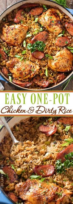 One Pot Chicken & Dirty Rice Chicken thighs are cooked on top of a homemade dirty rice, which makes for the most flavorful Cajun-inspired dish you've ever had! Plus, all you need is one pot! Chicken And Dirty Rice Recipe, One Pot Chicken, Pollo Chicken, Recipe Chicken, Cajun Chicken And Rice, Tuscan Chicken, Chicken Sausage, Chicken Thigh Meals, Chicken Thigs Recipes