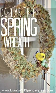 Dollar Tree Spring Wreath--LOVE this project!  Made from supplies picked up at the dollar store, this darling wreath cost less than 7 dollars (and took less than 30 minutes) to make! #DiY #wreath #spring by carlene