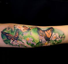 butterflies and flowers, colour realism tattoo, by Ricardo van 't Hof Book Tattoo, English Tattoo, Flower Tattoos, Tattoo Photos, Tattoo Inspiration, Makeup Tips, Van, Butterfly, Netherlands
