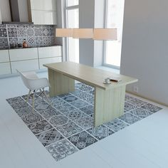 Portuguese Tiles - Floor Tiles - Floor Vinyl - Vinyl Tile - Kitchen Floors - Bathroom Floors- Flooring - Floor Mats - Tile Rugs PACK of 48 Black
