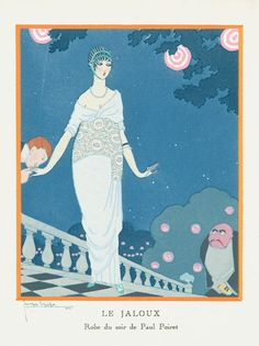 Georges Lepape ~ Le Jaloux,1913 Robe du soir de Paul Poiret via Pochoir Prints