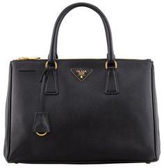 Saffiano Small Double-Zip Executive Tote Bag, Black by Prada at Bergdorf Goodman. Bergdorf Goodman, Women's Crossbody Purse, Leather Crossbody, Prada Bag, Prada Handbags, Leather Handbags, Black Leather Tote Bag, Leather Totes, Leather Key
