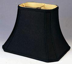 "Black Cut Corner Bell Silk Rectangular Lamp Shade 4/5""x6/8""x6.5""; 4.5/6""x7.5/10""x8.5""; 5/7""x8.5/12""x9.5""; 6/8""x11/14""x11""; 7/9""x12/16""x12""; 8/10""x13/18""x13.5"""