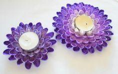 Individuelle maßgeschneiderte Pistazien Schale Teelichthalter. Erhältlich in 3, 4 oder 5 Blumen zu rudern und verfügen über eine neue Kerze.