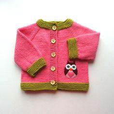 Owl Babyjacke rosa Pullover stricken Baby-Mädchen