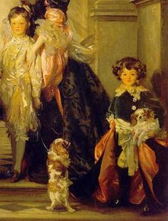 Detail from a portrait (1905) by John Singer Sargent of the 9th Duke of Marlborough and his immediate family. Featured in this study from the portrait: eldest son John Spencer-Churchill (1897-1972), Marquiss of Blandford (later the 10th Duke of Marlborough) and his younger brother Lord Ivor Spencer-Churchill (1898-1956) -- sons of Consuelo Vanderbilt.