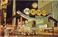 Reno NV postcard Love the graphic design on this card, very retro indeed!  www.renowebdesigner.com
