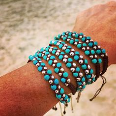 Turquoise and Silver Braided Wax Cording Bracelet and/or Anklet with adjustable closure, Boho Beach Jewelry Handmade Accessories, Handmade Jewelry, Unique Jewelry, Handmade Bracelets, Jewelry Design, Bracelets For Men, Bangle Bracelets, Macrame Bracelets, Beach Jewelry