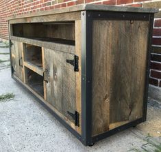 Looking for ideas to build your own entertainment center that suits your tastes and the space in your living room. Get inspired free DIY entertainment center ideas to get started. Rustic Industrial Furniture, Repurposed Furniture, Wood Entertainment Center, Entertainment Furniture, Colorful Furniture, Furniture Ideas, Woodworking Plans, Woodworking Videos, Woodworking Classes