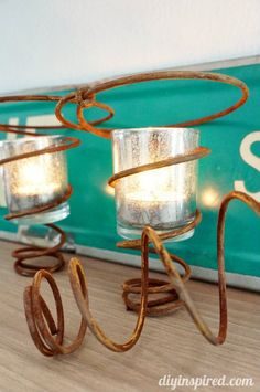 Repurposed Bed Springs and Chair Springs - Use them as rustic votive candle holders