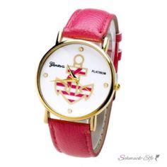 Damen Armbanduhr Hamburg  Gelbgold PU Leder pink