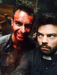 Joseph Gilgun as Cassidy and Dominic Cooper as Jesse Custer on AMC's Preacher.