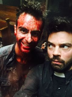 Joseph Gilgun as Cassidy and Dominic Cooper as Jesse Custer on AMC's Preacher.
