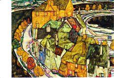 """Leopold Museum. Egon Schiele. 1890 – 1918. Der Häuserbogen II (""""Inselstadt"""") 1915. Öl auf Leinwand, 110,5 x 149,5 cm."""