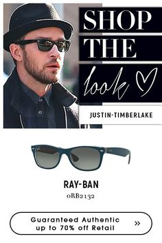 is an online dealer for Ray-Ban eyeglasses and sunglasses at discount price. One-stop solution for your Ray-Ban Designer eyeglasses and sunglasses. Blue Sunglasses, Mens Sunglasses, Ray Bans, Ray Ban Men, Designer Eyeglasses, Justin Timberlake, Men Online, Mens Fashion, Men's Style