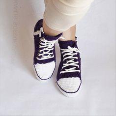 31412aae909e Crochet Purple Converse Slipper Crochet House Slippers For Patikler