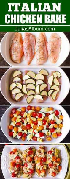 One-pan baked Italian Chicken and Vegetables - easy and healthy family weeknight dinner. Ready in less than 1 hour. Only 10 minutes of prep, and 30 minutes to bake. Chicken Breasts are seasoned with basil and Italian Baked Chicken, Healthy Baked Chicken, Healthy Chicken Dinner, Baked Chicken Recipes, Healthy Dinner Recipes, Beef Recipes, Italian Chicken Dishes, Easy Healthy Chicken Recipes, Chicken Dishes For Dinner