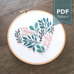 Floral Leaf Heart- Digital PDF Hand Embroidery Pattern has been designed for a 6 inch hoop. This PDF pattern is easy to follow and has been designed for those with a general understanding of embroidery techniques. This pattern guide has helpful tips and tricks, and there are many