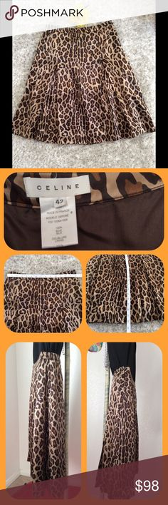 A-line, pleated animal print skirt by Celine A-line cut with knee length hemline, Measurement shown in pic 4.  Side zipper that works well, and top button in place.  100% silk outer and 100% silk lining.  The skirt is in great condition with no observable flaws.  European  42 translates to approx. 6 in American clothing.  Waist measurement posted.  More pics available per request.  Retails for over $500. Celine Skirts
