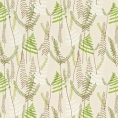Shop for Fabric at Style Library: Athyrium by Scion. A printed embroidery fabric depicting layered fern leaves and fronds overstitched with delicate la.