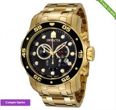 828930c6f1b RELÓGIO INVICTA MEN S 0072 PRO DIVER COLLECTION CHRONOGRAPH 18K GOLD-PLATED  WATCH Relogios Masculinos Ouro