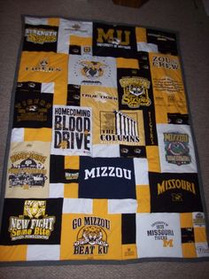 Tshirt quilt tutorials!!! I started mine (Mizzou, too, how funny!) a long time ago, but was only going to sew shirt squares together... Im SO glad I kept my scraps, because this one looks SO much cooler!! I cant wait to get working on it! :D