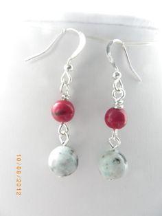 Red white black gemstone beads handmade earrings, free shipping $10.00