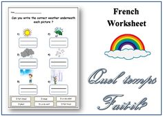Downloadable Printable French Worksheet. Weather Topic. Writing Activity. Teaching Resources for the school and for Homeschooling. Education. French Worksheets, Worksheets For Kids, Printable Worksheets, Writing Activities, Teaching Resources, Growth Mindset Classroom, French Immersion, French Teacher, Good Grades